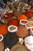 Oriental spices on the village market in Rissani, Morocco