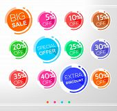 Set Of Colorful Abstract Rounded Sale Stickers, Labels, Tags. Bright Design For Stickers, Web Page A poster