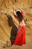Oriental Beauty Dancing Sensual Belly Dance Outdoors. Arab Dance Of Seduction. Girl In Red Dress Mov poster