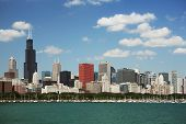 Chicago daytime skyline view from the lake Michigan. poster