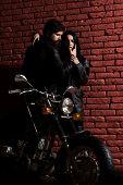 Fashion Couple. Fashion Couple At Cool Motorbike. Sexy Couple In Fashion Leather Jacket. Fashion Cou poster