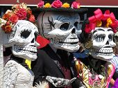 Dia De Los Muertos, Day Of The Dead. Participants Of The Mexican Holiday In Death Masks poster