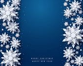 Vector Merry Christmas And Happy New Year Greeting Card Design With White Layered Paper Cut Snowflak poster