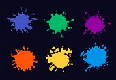 Colored Ink Splash. Paint Splashing And Drop poster