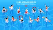 Women With Various Equipment During Aqua Aerobics Class On Blue Background Isometric Horizontal Vect poster