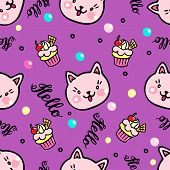Vector Seamless Pattern With Kittens And Muffins. Hello Lettering poster