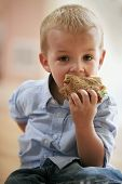 picture of little boy  - Little cute boy eating healthy sandwich - JPG
