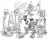 Black And White Cartoon Illustration Of Halloween Holiday Monsters And Creatures Group Coloring Book poster