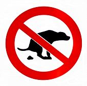 pic of pooper  - No dog poop isolated  forbiddance sign - JPG