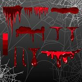 Collection Various Blood Or Paint Splatters, Halloween Concept, Ink Splatter Background, Isolated On poster
