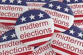 Usa Politics News Badges: Pile Of Midterm Elections Buttons With Us Flag, 3d Illustration poster