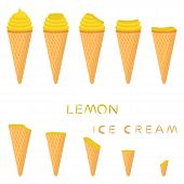 Vector Illustration For Natural Lemon Ice Cream On Waffle Cone. Ice Cream Pattern Consisting Of Swee poster