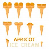 Vector Illustration For Natural Apricot Ice Cream On Waffle Cone. Ice Cream Pattern Consisting Of Sw poster