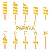 Vector Illustration Logo For Natural Papaya Ice Cream On Stick. Ice Cream Pattern Consisting Of Swee poster