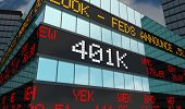 401K Retirement Savings Investment Account Stock Market Ticker 3d Illustration poster