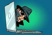 Spy. Laptop Computer. Surveillance And Hacking. Comic Cartoon Pop Art Retro Vector Illustration poster