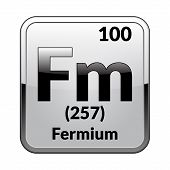 Fermium Symbol.chemical Element Of The Periodic Table On A Glossy White Background In A Silver Frame poster