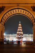 Winter palace in Saint Petersburg, Russia, Europe during Christmas time with fir tree