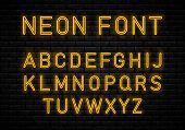 Neon Font  On Brick Wall Background.  Glowing Vector Linear Neon Typefaces, Alphabet, Letters, Font, poster