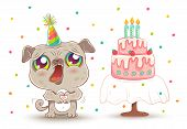 Vector Cute Pug With Strawberry Birthday Cake In Kawaii Style. Happy Birthday! Cute Dog In Birthday  poster