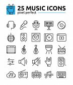 Monochrome Music Sound System Pixel Perfect Line Icons Set.music Keyboard, Radio, Electric Guitar, M poster