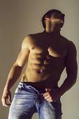 Man Or Muscular Athlete, Bodybuilder And Macho With Strong, Naked Torso, Chest, Belly, Six Packs, Ab poster