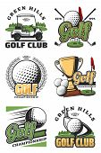 Golf Sport Championship Vintage Icons And Symbols. Golf Ball, Club And Tee, Flag, Green Field And Ho poster