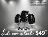 Vector Sale Wheels Advertisement Poster. 3d Illustration Of Car Tire. Wheel. Black Rubber Tire. Real poster