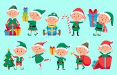 Christmas Elf Character. Cute Santa Claus Helpers Elves. Funny Xmas Winter Baby Dwarf Characters Vec poster