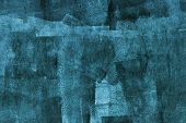 Concrete Wall With Dark Blue Paint Layer, Grungy Background Photo Texture poster