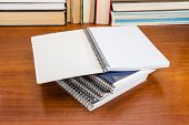 Open Blank Exercise Book With Pages Of Squared Paper And Wire Spiral Binding Lies On Other Notebooks poster