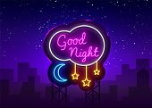 Good Night Neon Sign Vector. Good Night Neon Text, Design Template, Modern Trend Design, Night Neon  poster