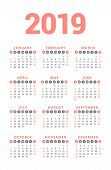 Calendar For 2019 Year On White Background. Week Starts On Sunday. 3 Columns, 4 Rows. Simple Calenda poster