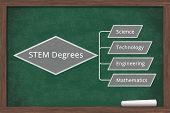 Learning About Stem Degrees, A Mind Map Of The Stem Degrees On A Chalkboard With A Piece Of Chalk 3d poster