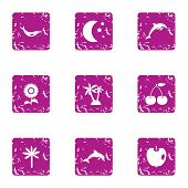 Mammal Icons Set. Grunge Set Of 9 Mammal Vector Icons For Web Isolated On White Background poster