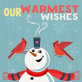 Fancy Seasonal Poster. Cartoon Playful Fun Snowman, Red Cardinal Bird. Merry Christmas Winter Season poster