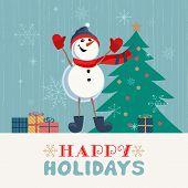 Fancy Seasonal Poster. Cartoon Playful Fun Snowman Snow Ball. Template For Merry Christmas Winter Se poster