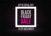 Black Friday Is The Sign Of Neon. Web Banner, Logo, Emblem And Label. Neon Sign, Bright Signboard, L poster
