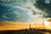Car Driving On Highway Road In Concept Travel Automotive Sky Concept Automobile Street And Drive Tra poster