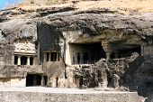 pic of ellora  - Facade of ancient Ellora rock carved Buddhist temple - JPG