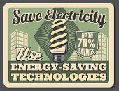 Energy-saving Technologies Retro Poster. Compact Fluorescent Lamp Helping To Save Up To 70 Percent S poster