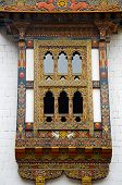 Pungtang Dechen Photrang Dzong Or Palace Of Great Bliss. Carved Window . Administrative Centre. Puna poster