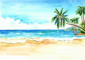 Seascape. Summer Tropical Beach With Golden Sand And Palmes. Hand Drawn Horizontal Watercolor Illust poster