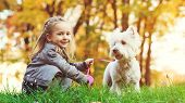 Cute Little Girl With Her Dog In Autumn Park. Lovely Child With Dog Walking In Fallen Leaves. Stylis poster