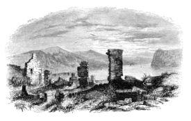 stock photo of ticonderoga  - Ruins of Ticonderoga at lake Champlain - JPG