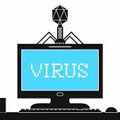picture of blue-screen-of-death  - Computer bacteriophage infecting computer monitor with a virus - JPG