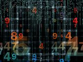 stock photo of orthogonal  - Background design of numbers and design elements on the subject of computers science math and modern technology - JPG