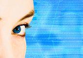 picture of blue eyes  - beautiful blue technological eye - JPG