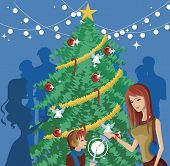 pic of ear candle  - A mother and child lighting candles in front of a decorated Christmas tree - JPG