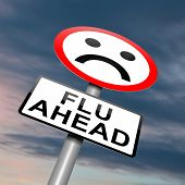 image of respiratory disease  - Illustration depicting a roadsign with a flu concept - JPG